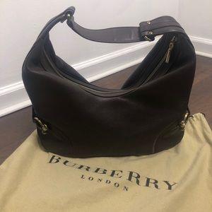 Burberry Leather Horsebit Hobo Swing Bag Purse